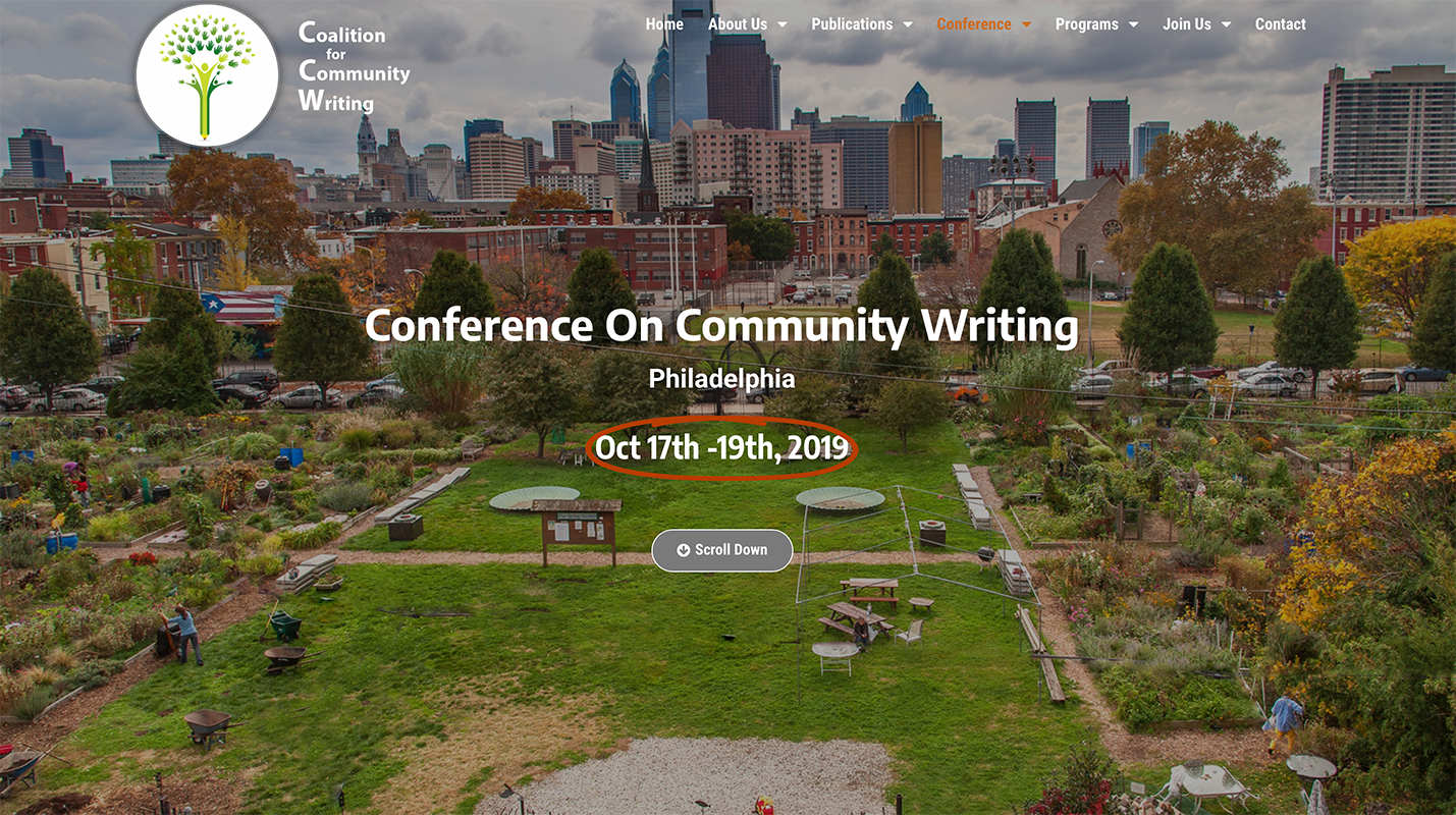 Conference on Community Writing in Philly: 10.17-19, 2019
